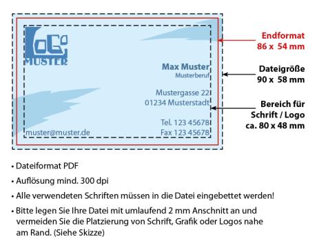 Visitenkarten 86 X 54 Ihr Druckdienstleister In Zwickau